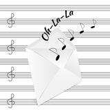 Musical notes are emitted from the envelope Royalty Free Stock Images