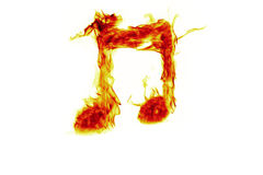 Musical notes on fire Stock Image