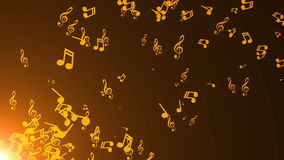 Musical notes float. Abstract background. With flares stock footage