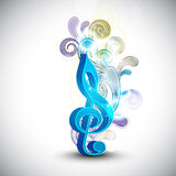 Musical notes with floral decoration. Stock Photography