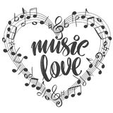 Musical notes in the form of a heart icon, love music, calligraphy text hand drawn vector illustration sketch.  vector illustration