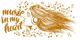 Beautiful young girl listening to music on headphones, musical notes love music, calligraphy text hand drawn vector. Musical notes in the form of a heart icon royalty free illustration