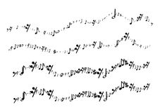 Musical notes in the form of a wavy line Stock Photos