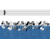 Musical notes in front of stave Royalty Free Stock Image