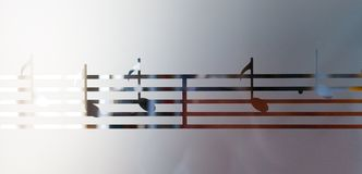 Musical notes on frosted glass, art background Royalty Free Stock Images