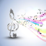 Musical notes with g-clef and colorful waves. Royalty Free Stock Image