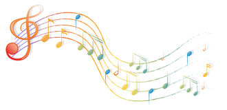 The musical notes and the G-clef Royalty Free Stock Photo