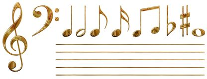 Musical notes (gold) Stock Photography