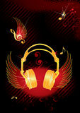 Musical notes and headphones Stock Photos