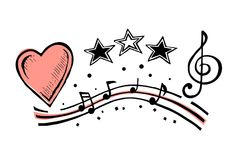 Musical notes and heart sketch. Vector sketch I love music. Musical notes and a heart sign. Treble clef royalty free illustration