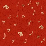 Musical notes and hearts on red grunge background. Musical notes and hearts on grunge backdrop. Sensual Vector illustration on red background Stock Images