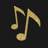 Musical notes icon with glitter effect, isolated on black background  Royalty Free Stock Photography