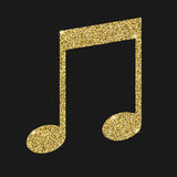 Musical notes icon with glitter effect, isolated on black background. Outline icon of notes, musical symbols, vector Royalty Free Stock Photos