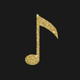 Musical notes icon with glitter effect, isolated on black background.   Stock Photography