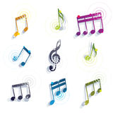 Musical notes icons set. Royalty Free Stock Images
