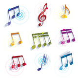 Musical notes icons set. Stock Photos