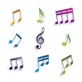 Musical notes icons set. Royalty Free Stock Photography