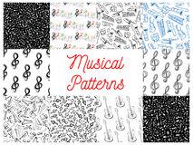 Musical notes and instruments pattern backgrounds Royalty Free Stock Photo