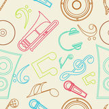 Musical notes with musical instrument. Royalty Free Stock Photo