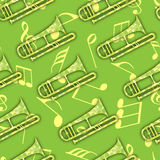 Musical notes with musical instument. Royalty Free Stock Photo