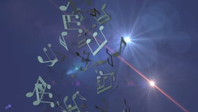 Musical notes and optical flare. Animated background with musical notes and optical flare stock footage