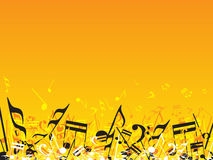 Musical notes on orange background Royalty Free Stock Images