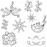 Musical notes. Ornament with swirls. Stock Images