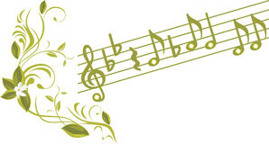 Musical notes with ornamental sprig Stock Photography