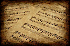 Musical notes on parchment Royalty Free Stock Images