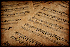Musical notes on parchment Royalty Free Stock Photo