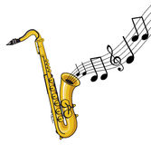 Musical notes with saxophone Stock Photo