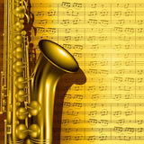 Musical notes and saxophone Royalty Free Stock Image