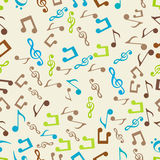 Musical notes with seamless pattern. Stock Image