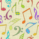 Musical notes on seamless pattern. Stock Images