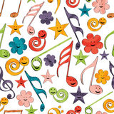 Musical notes with seamless pattern. Stock Photos