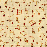 Musical notes with seamless pattern. Royalty Free Stock Images