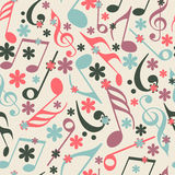 Musical notes with seamless pattern. Royalty Free Stock Image