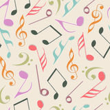 Musical notes with seamless pattern. Stock Photo