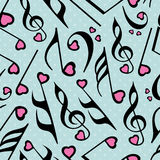 Musical notes with seamless pattern. Seamless dotted background with musical notes Stock Images