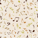 Musical notes with seamless pattern. Royalty Free Stock Photo