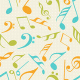 Musical notes with seamless pattern. Royalty Free Stock Photos