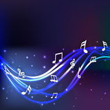 Musical notes with shiny blue waves. Royalty Free Stock Photos