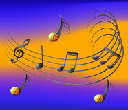 Musical notes spread on staff and colorful background Royalty Free Stock Images