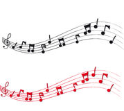 Musical Notes and Staff. In black and red stock illustration