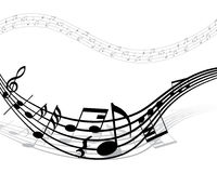 Musical notes staff Stock Photo