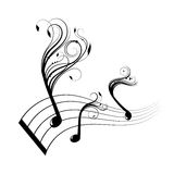 Musical notes staff background Royalty Free Stock Photos