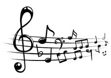 Musical notes staff background with lines Stock Image