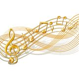Musical notes staff background on white. Stock Photo