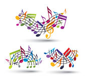 Musical notes staff set. Royalty Free Stock Image