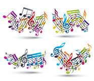 Musical notes staff set. Stock Photography